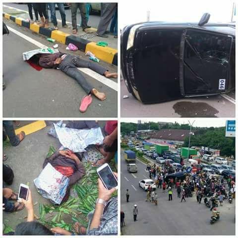 Mobil pengantar uang dari arah Tol Reformasi menuju Jalan A.P Pettarani, menabrak lima orang anak dibawah umur, Senin, (14/11/2016) siang tadi.